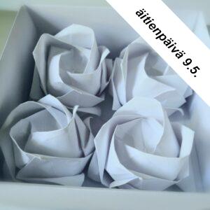 Äitienpäivä, lahjaidea, origamiruusut