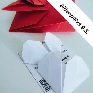 Äitienpäivä, lahjaidea, origamisydän